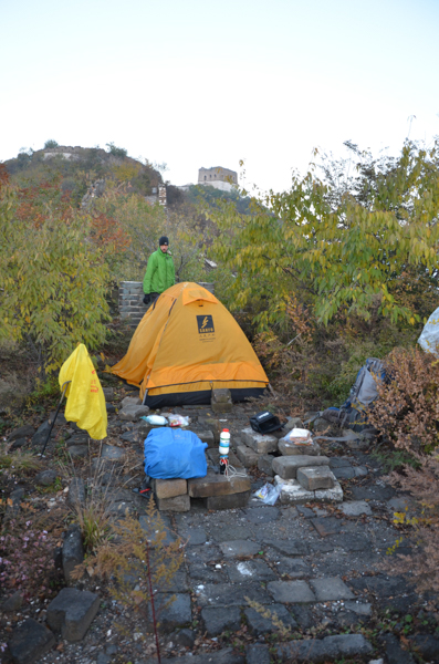 camping in zhengbeilou watch tower in the fall